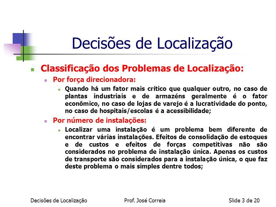 Decisões de LocalizaçãoSlide 3 de 20 Classificação dos Problemas de Localização: Por força direcionadora: Quando há um fator mais crítico que qualquer