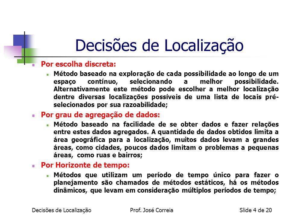 Decisões de LocalizaçãoSlide 4 de 20 Decisões de Localização Por escolha discreta: Método baseado na exploração de cada possibilidade ao longo de um e
