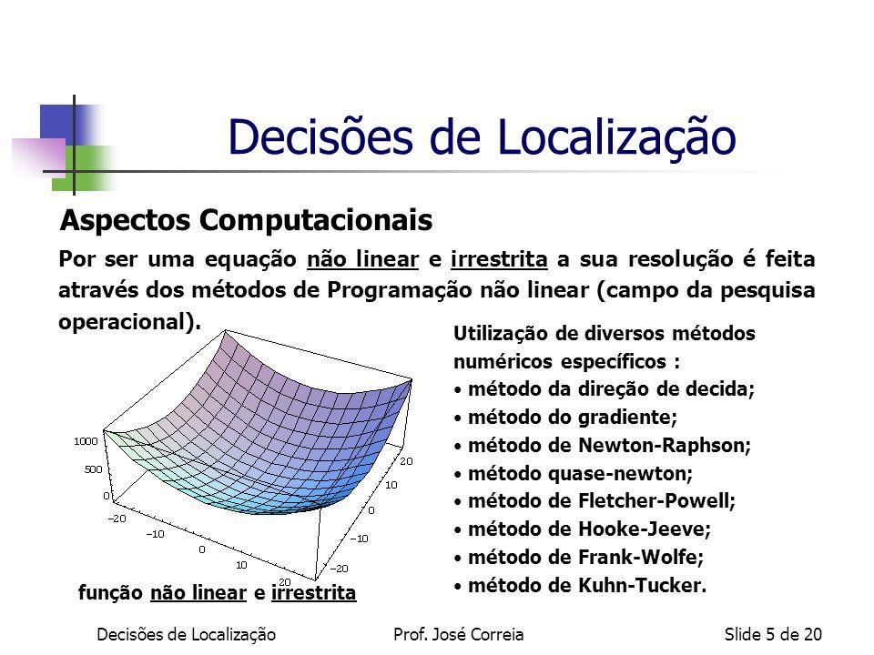 Decisões de LocalizaçãoProf. José CorreiaSlide 5 de 20 Aspectos Computacionais Por ser uma equação não linear e irrestrita a sua resolução é feita atr