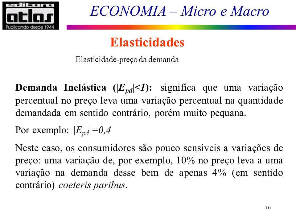 ECONOMIA – Micro e Macro 16 Elasticidades Elasticidade-preço da demanda Demanda Inelástica (|E pd |<1): significa que uma variação percentual no preço leva uma variação percentual na quantidade demandada em sentido contrário, porém muito pequana.