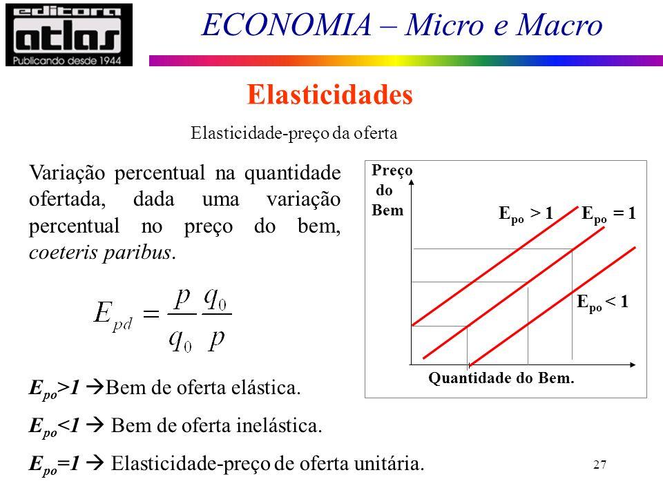 ECONOMIA – Micro e Macro 27 Elasticidades Elasticidade-preço da oferta E po >1 Bem de oferta elástica.