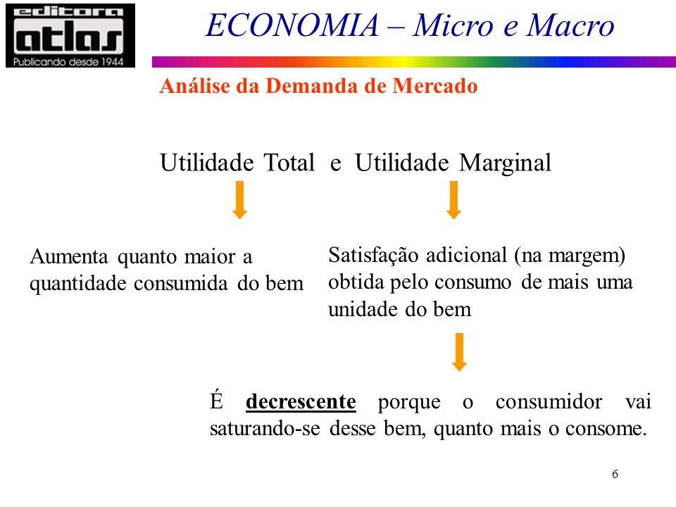 ECONOMIA – Micro e Macro 6 Utilidade Total e Utilidade Marginal Aumenta quanto maior a quantidade consumida do bem Satisfação adicional (na margem) obtida pelo consumo de mais uma unidade do bem É decrescente porque o consumidor vai saturando-se desse bem, quanto mais o consome.
