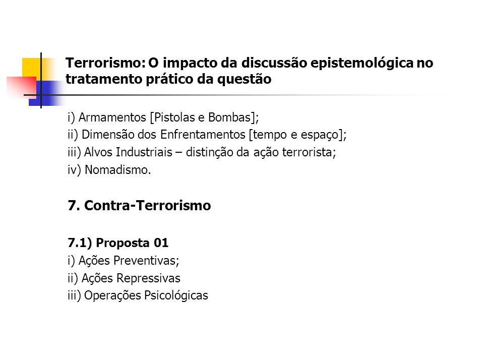 Terrorismo: O impacto da discussão epistemológica no tratamento prático da questão i) Armamentos [Pistolas e Bombas]; ii) Dimensão dos Enfrentamentos [tempo e espaço]; iii) Alvos Industriais – distinção da ação terrorista; iv) Nomadismo.