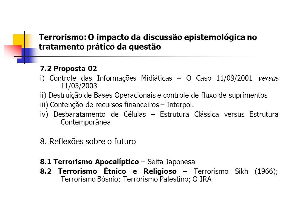 Terrorismo: O impacto da discussão epistemológica no tratamento prático da questão 7.2 Proposta 02 i) Controle das Informações Midiáticas – O Caso 11/09/2001 versus 11/03/2003 ii) Destruição de Bases Operacionais e controle de fluxo de suprimentos iii) Contenção de recursos financeiros – Interpol.