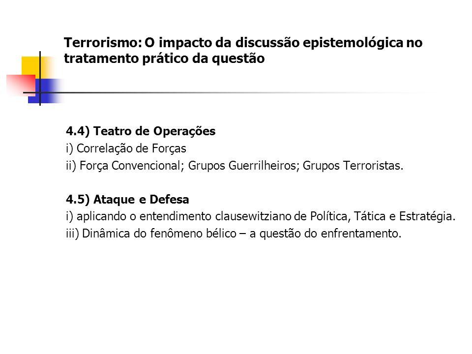 Terrorismo: O impacto da discussão epistemológica no tratamento prático da questão 4.4) Teatro de Operações i) Correlação de Forças ii) Força Convencional; Grupos Guerrilheiros; Grupos Terroristas.