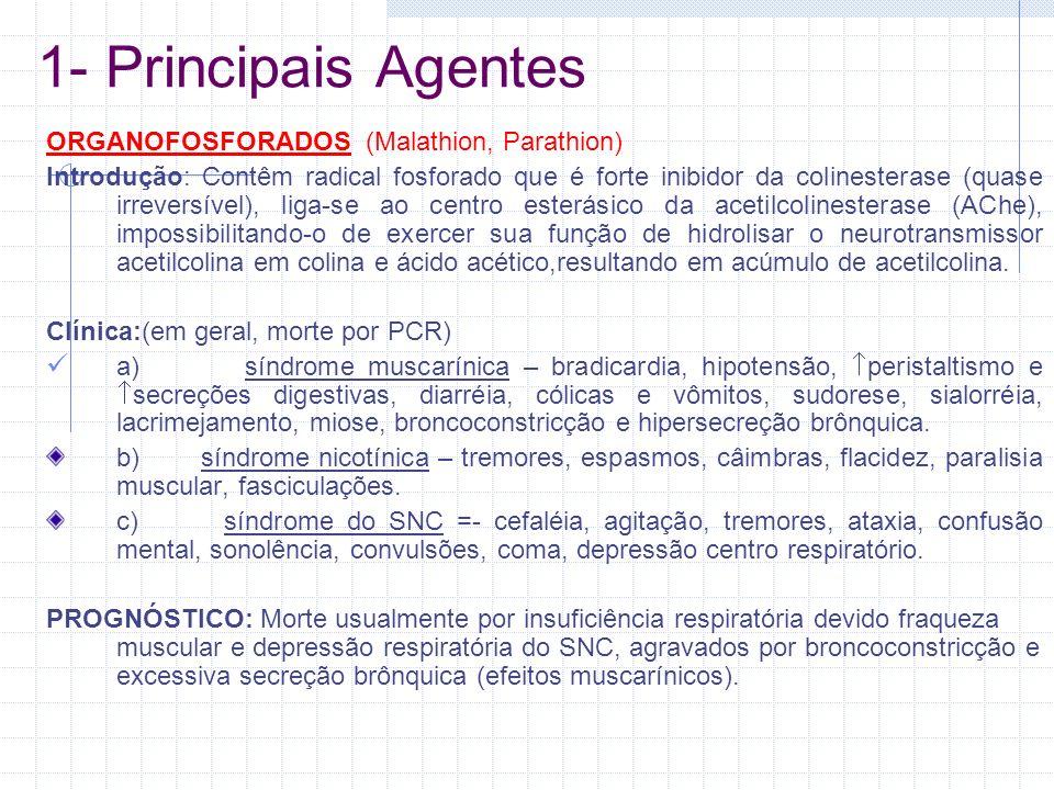 1- Principais Agentes ORGANOFOSFORADOS (Malathion, Parathion) Introdução: Contêm radical fosforado que é forte inibidor da colinesterase (quase irreve