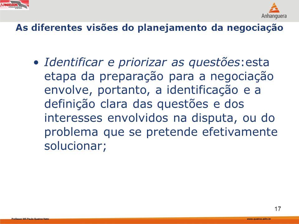 Identificar e priorizar as questões:esta etapa da preparação para a negociação envolve, portanto, a identificação e a definição clara das questões e dos interesses envolvidos na disputa, ou do problema que se pretende efetivamente solucionar; As diferentes visões do planejamento da negociação 17