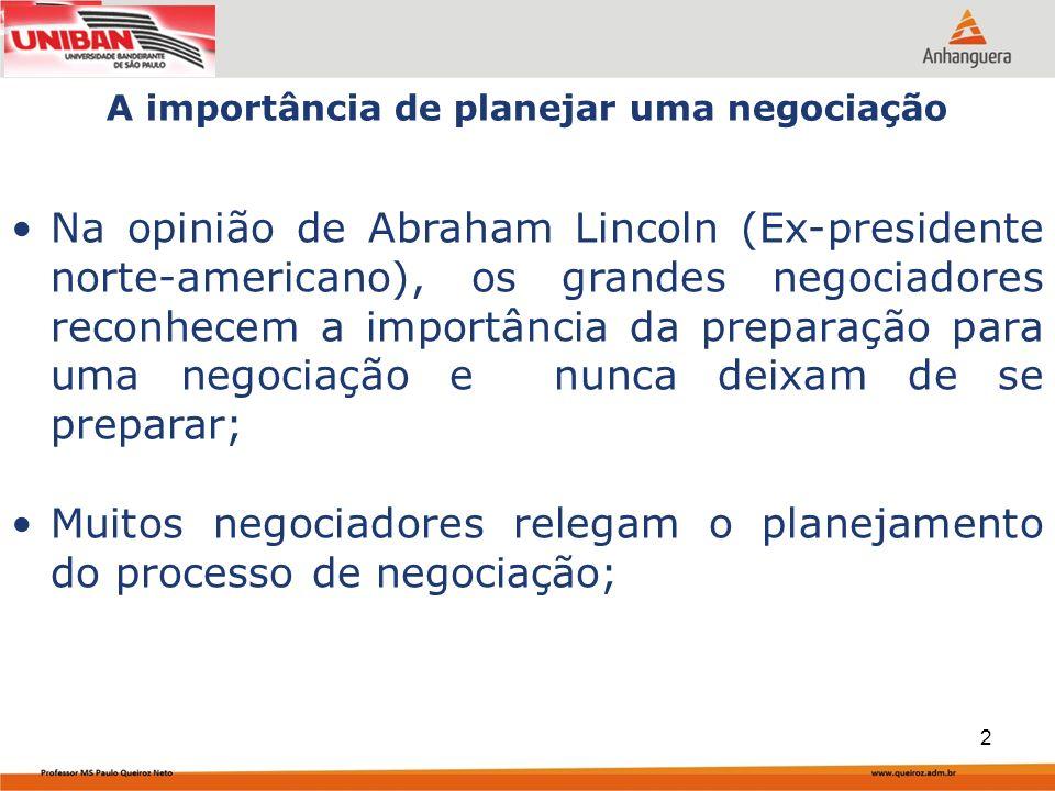 Capa da Obra Na opinião de Abraham Lincoln (Ex-presidente norte-americano), os grandes negociadores reconhecem a importância da preparação para uma negociação e nunca deixam de se preparar; Muitos negociadores relegam o planejamento do processo de negociação; A importância de planejar uma negociação 2