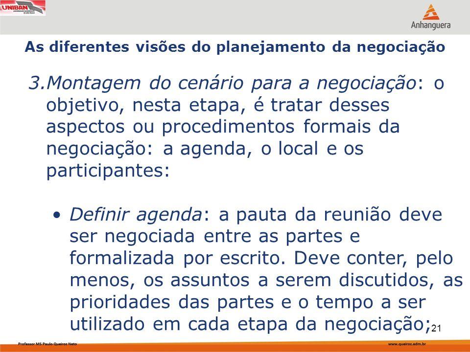 Capa da Obra 3.Montagem do cenário para a negociação: o objetivo, nesta etapa, é tratar desses aspectos ou procedimentos formais da negociação: a agenda, o local e os participantes: Definir agenda: a pauta da reunião deve ser negociada entre as partes e formalizada por escrito.