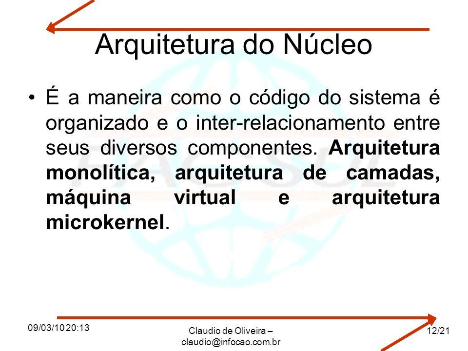 09/03/10 20:13 Claudio de Oliveira – claudio@infocao.com.br 12/21 Arquitetura do Núcleo É a maneira como o código do sistema é organizado e o inter-relacionamento entre seus diversos componentes.