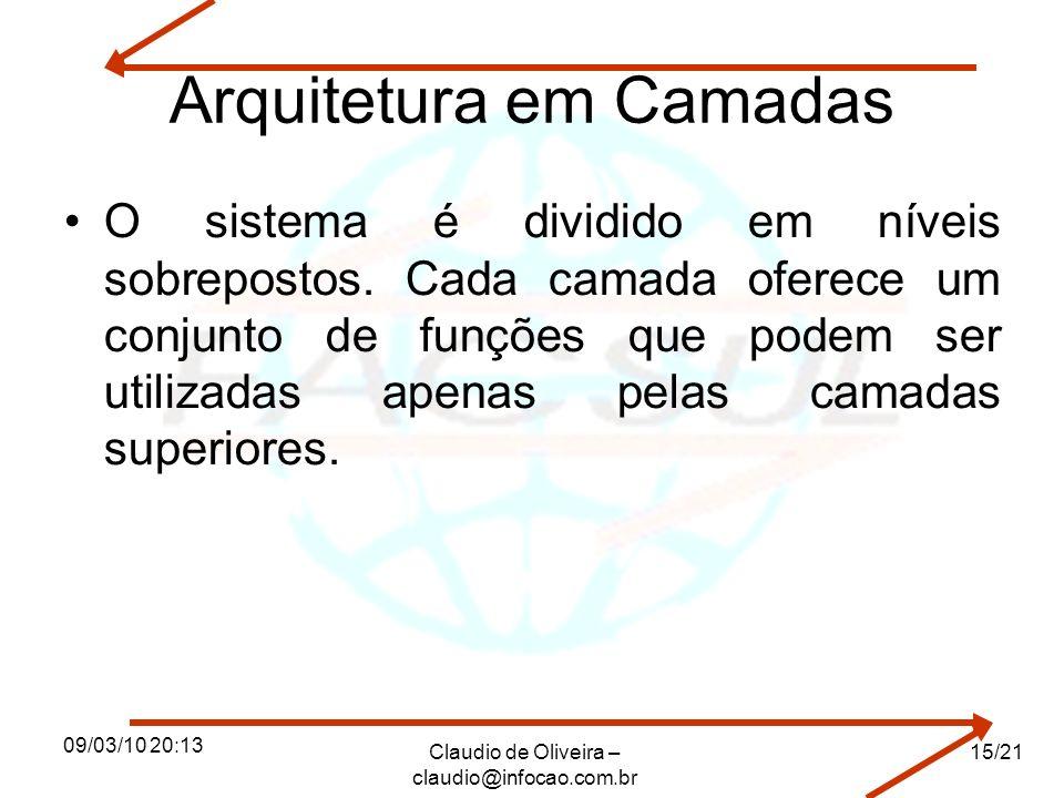 09/03/10 20:13 Claudio de Oliveira – claudio@infocao.com.br 15/21 Arquitetura em Camadas O sistema é dividido em níveis sobrepostos.