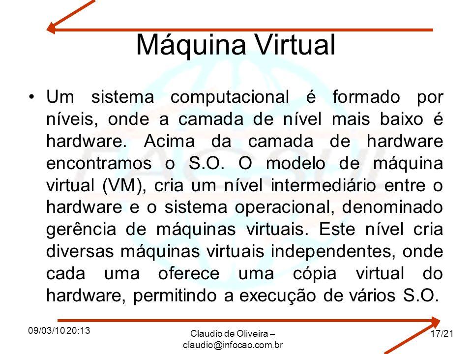 09/03/10 20:13 Claudio de Oliveira – claudio@infocao.com.br 17/21 Máquina Virtual Um sistema computacional é formado por níveis, onde a camada de nível mais baixo é hardware.