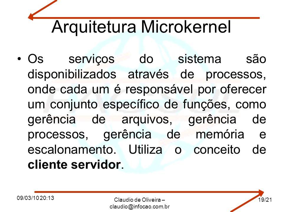 09/03/10 20:13 Claudio de Oliveira – claudio@infocao.com.br 19/21 Arquitetura Microkernel Os serviços do sistema são disponibilizados através de processos, onde cada um é responsável por oferecer um conjunto específico de funções, como gerência de arquivos, gerência de processos, gerência de memória e escalonamento.