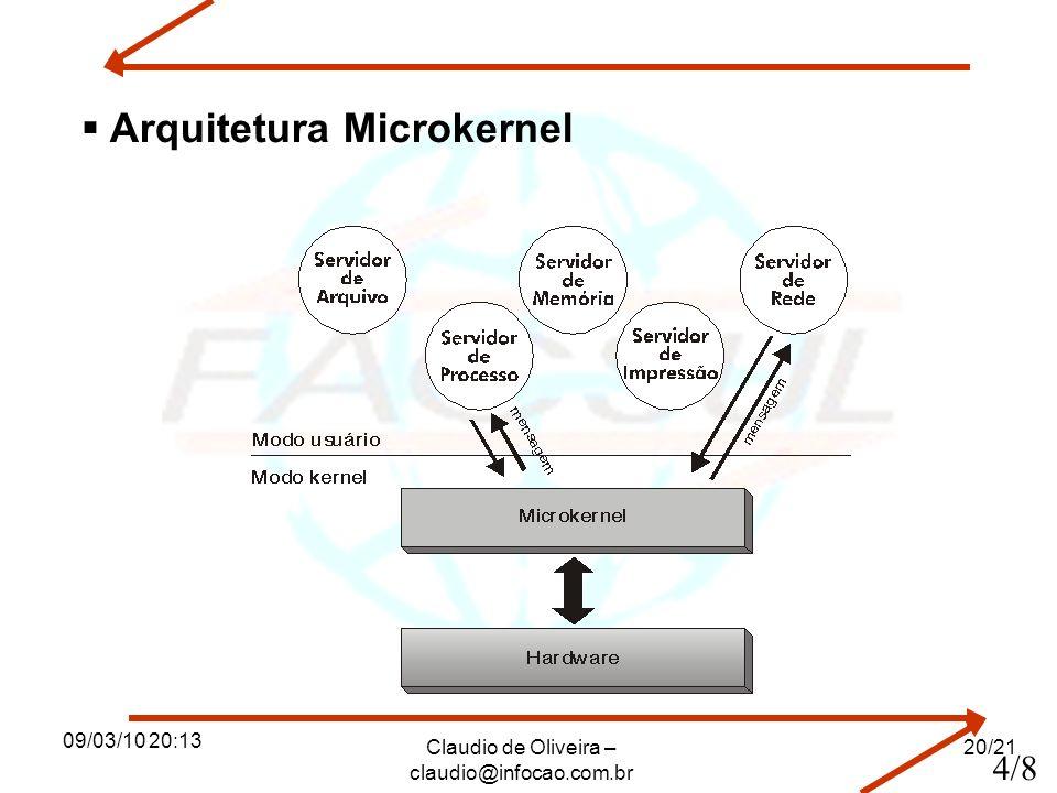 09/03/10 20:13 Claudio de Oliveira – claudio@infocao.com.br 20/21 Arquitetura Microkernel 4/8