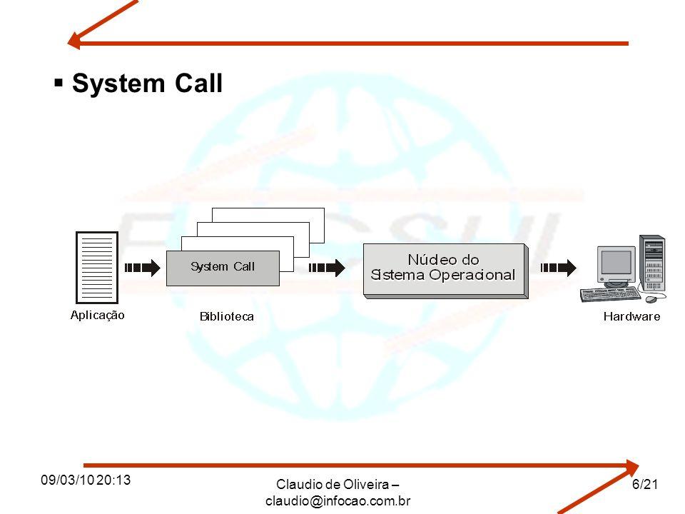 09/03/10 20:13 Claudio de Oliveira – claudio@infocao.com.br 6/21 System Call