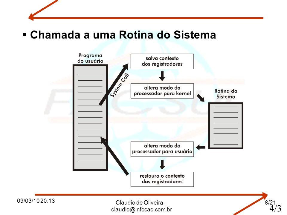 09/03/10 20:13 Claudio de Oliveira – claudio@infocao.com.br 8/21 Chamada a uma Rotina do Sistema 4/3