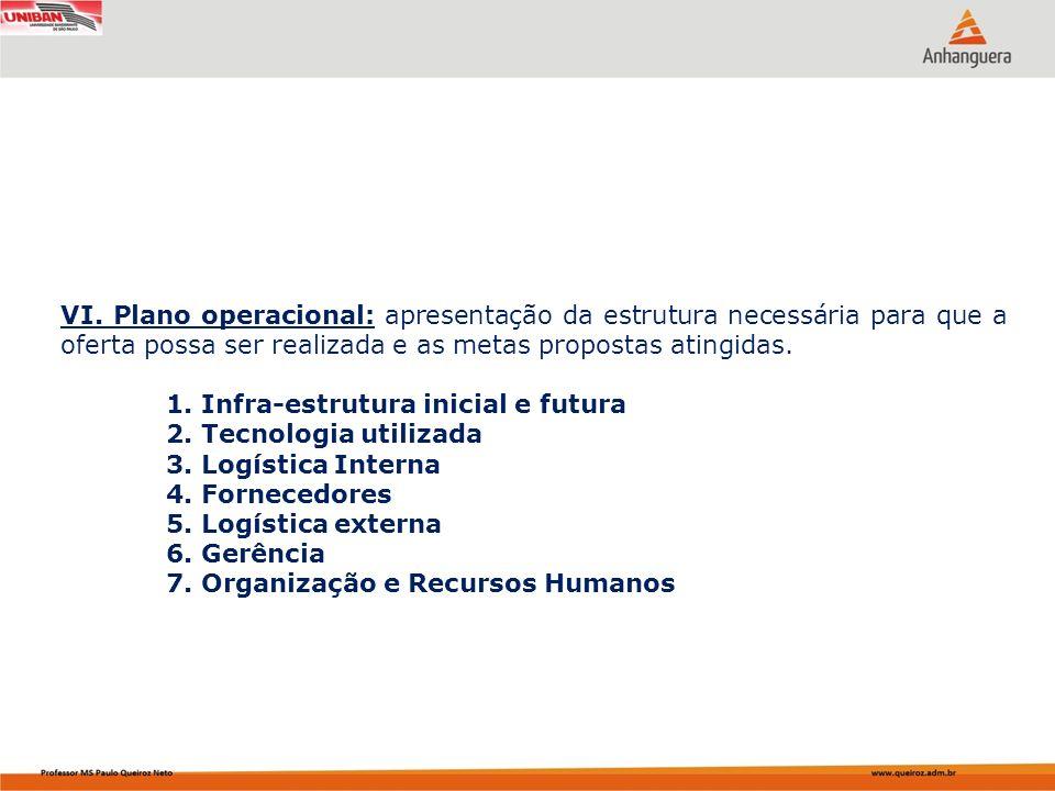 VI. Plano operacional: apresentação da estrutura necessária para que a oferta possa ser realizada e as metas propostas atingidas. 1. Infra-estrutura i