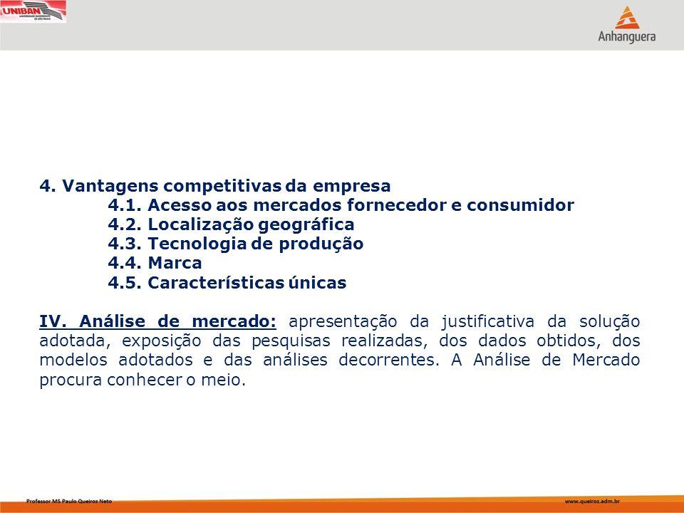 4. Vantagens competitivas da empresa 4.1. Acesso aos mercados fornecedor e consumidor 4.2. Localização geográfica 4.3. Tecnologia de produção 4.4. Mar