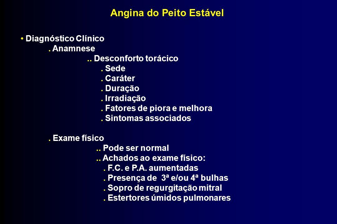 Angina do Peito Estável Diagnóstico Clínico. Anamnese.. Desconforto torácico. Sede. Caráter. Duração. Irradiação. Fatores de piora e melhora. Sintomas