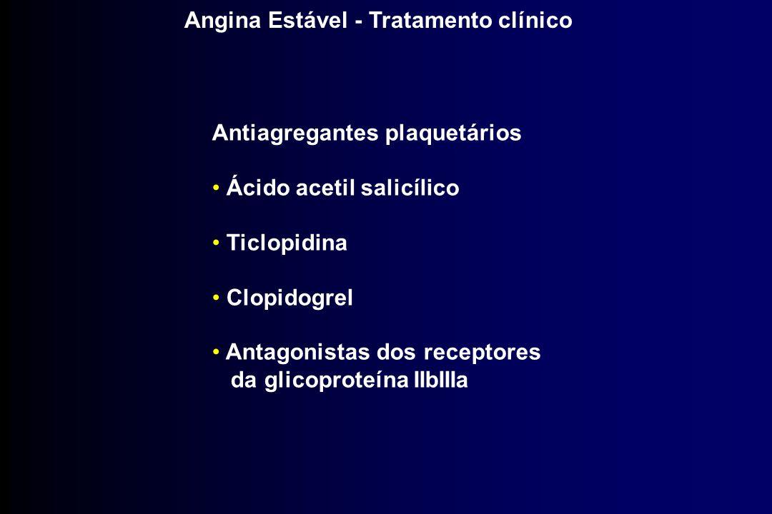 Angina Estável - Tratamento clínico Antiagregantes plaquetários Ácido acetil salicílico Ticlopidina Clopidogrel Antagonistas dos receptores da glicopr