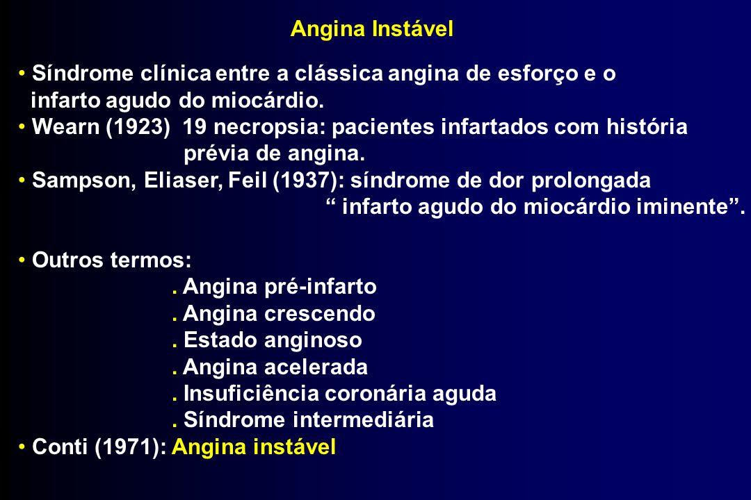 Angina Instável Síndrome clínica entre a clássica angina de esforço e o infarto agudo do miocárdio. Wearn (1923) 19 necropsia: pacientes infartados co
