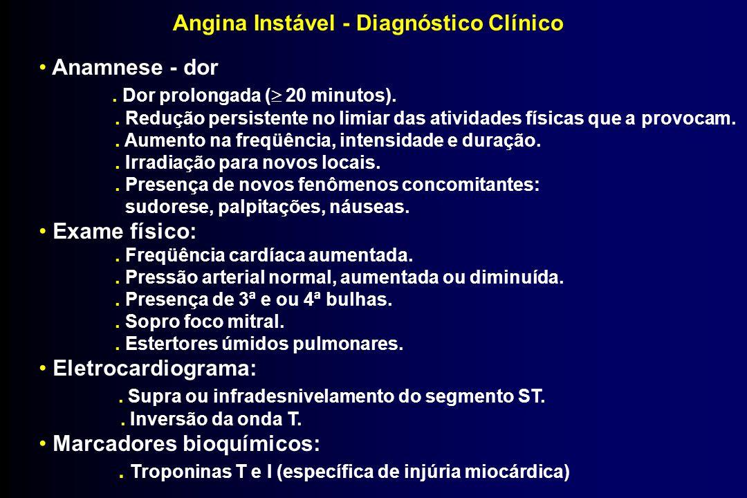 Angina Instável - Diagnóstico Clínico Anamnese - dor. Dor prolongada ( 20 minutos).. Redução persistente no limiar das atividades físicas que a provoc