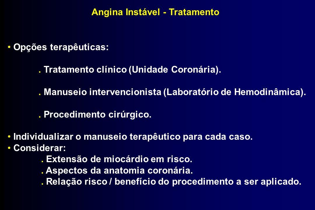 Angina Instável - Tratamento Opções terapêuticas:. Tratamento clínico (Unidade Coronária).. Manuseio intervencionista (Laboratório de Hemodinâmica)..