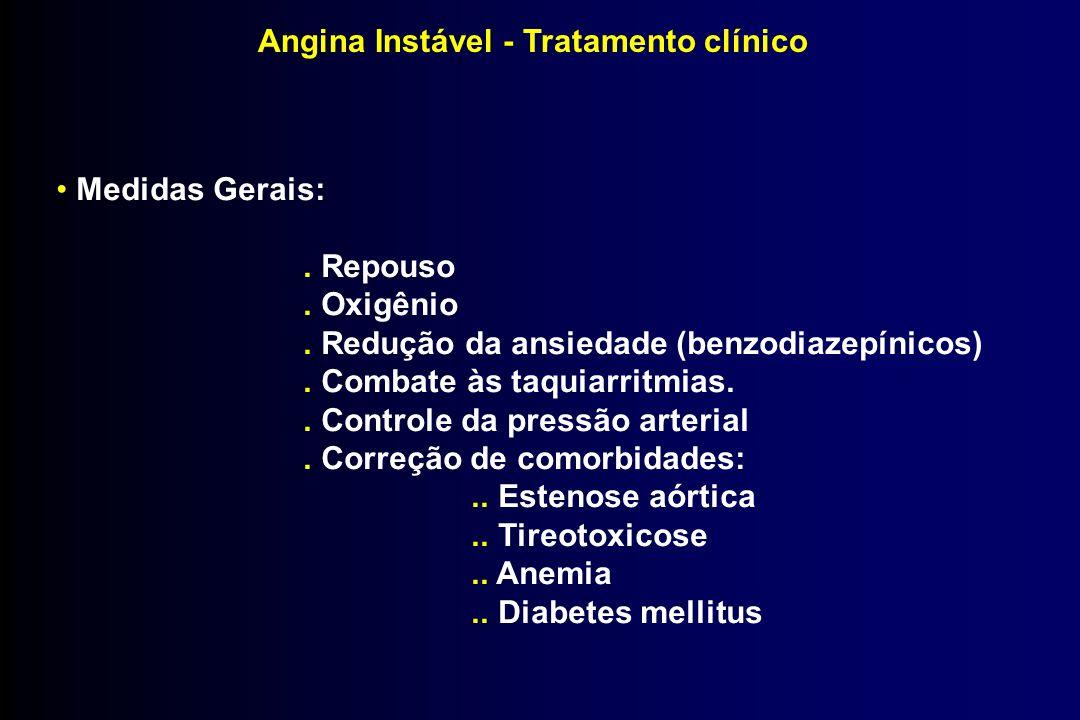 Angina Instável - Tratamento clínico Medidas Gerais:. Repouso. Oxigênio. Redução da ansiedade (benzodiazepínicos). Combate às taquiarritmias.. Control