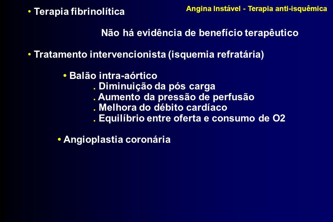 Angina Instável - Terapia anti-isquêmica Terapia fibrinolítica Não há evidência de benefício terapêutico Tratamento intervencionista (isquemia refratá