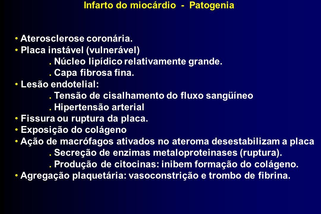 Infarto do miocárdio - Patogenia Aterosclerose coronária. Placa instável (vulnerável). Núcleo lipídico relativamente grande.. Capa fibrosa fina. Lesão