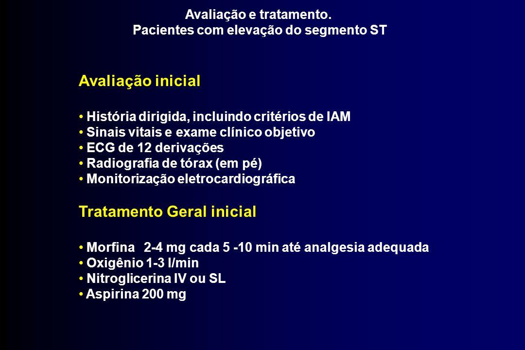 Avaliação e tratamento. Pacientes com elevação do segmento ST Avaliação inicial História dirigida, incluindo critérios de IAM Sinais vitais e exame cl