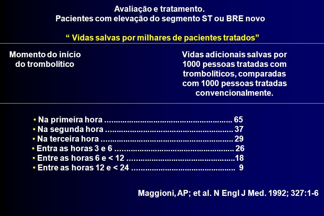 Maggioni, AP; et al. N Engl J Med. 1992; 327:1-6 Avaliação e tratamento. Pacientes com elevação do segmento ST ou BRE novo Vidas salvas por milhares d