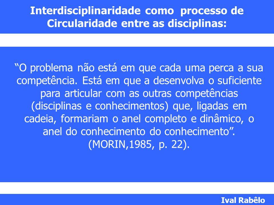 Interdisciplinaridade como processo de Circularidade entre as disciplinas: O problema não está em que cada uma perca a sua competência. Está em que a