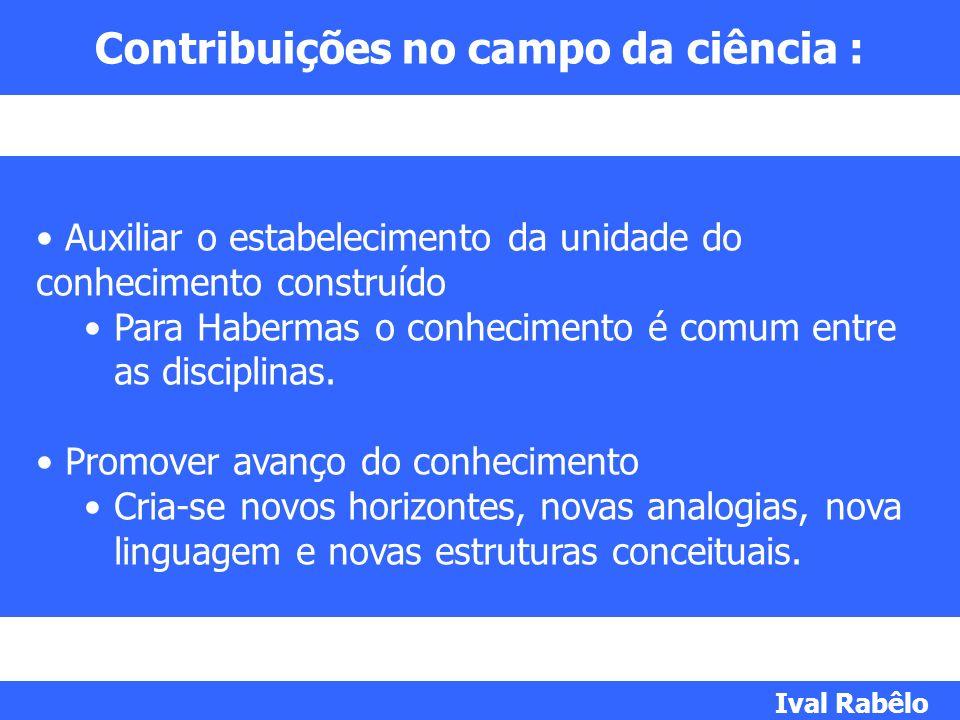 Contribuições no campo da ciência : Auxiliar o estabelecimento da unidade do conhecimento construído Para Habermas o conhecimento é comum entre as dis