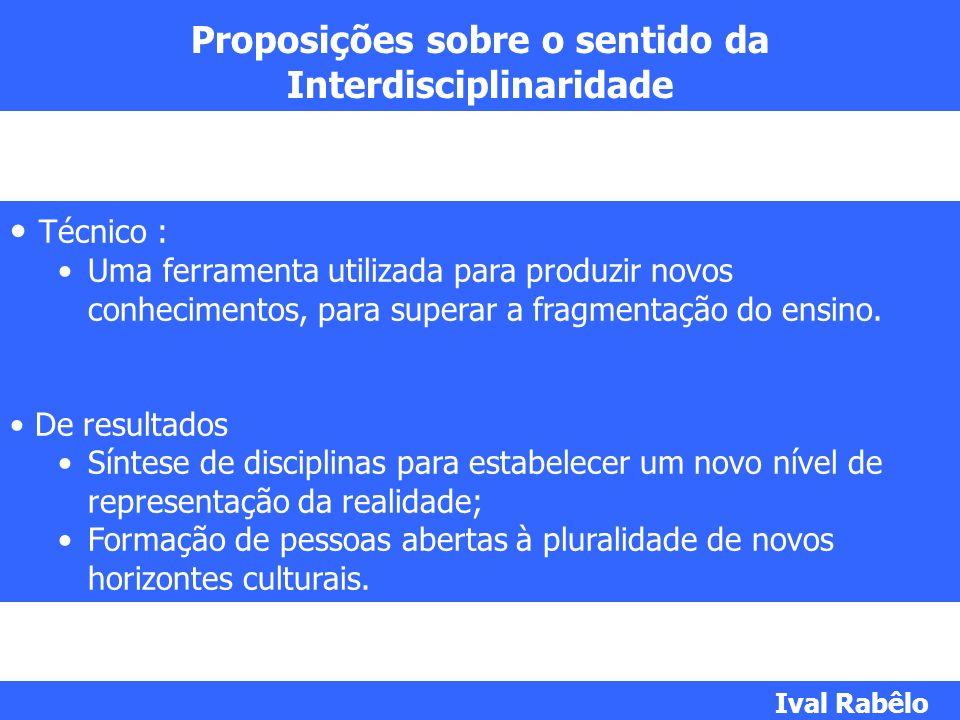 Proposições sobre o sentido da Interdisciplinaridade Técnico : Uma ferramenta utilizada para produzir novos conhecimentos, para superar a fragmentação