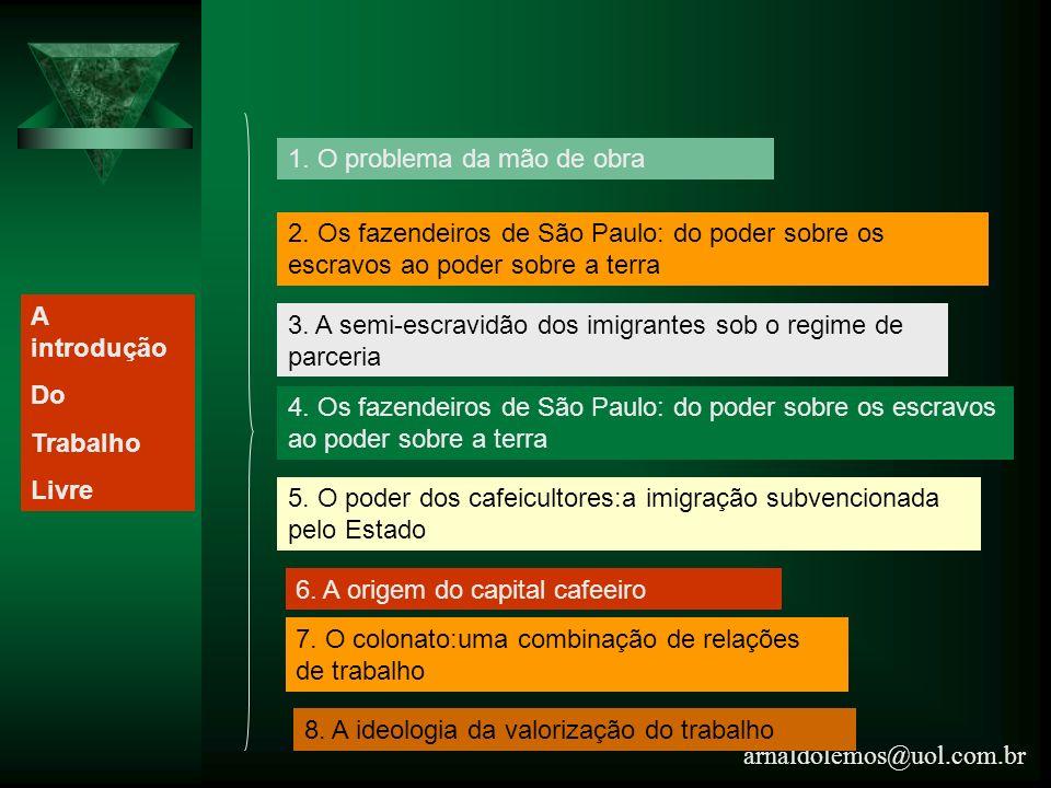 arnaldolemos@uol.com.br 1. O problema da mão de obra 2. Os fazendeiros de São Paulo: do poder sobre os escravos ao poder sobre a terra 3. A semi-escra