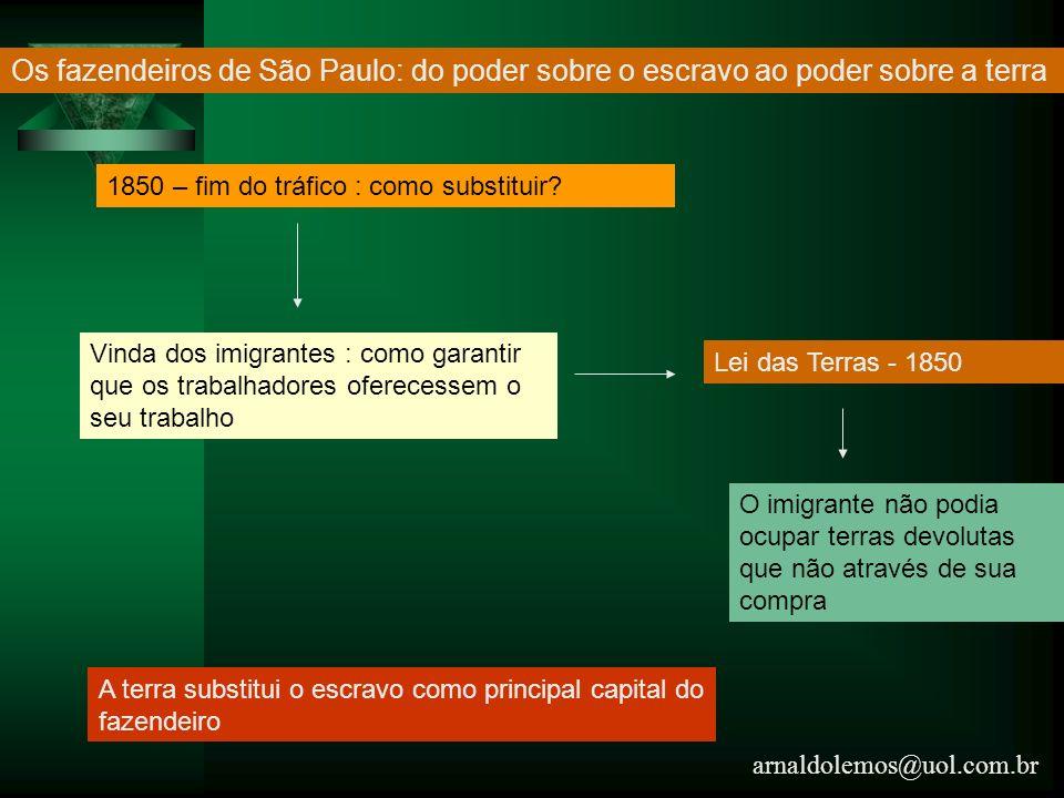 arnaldolemos@uol.com.br Os fazendeiros de São Paulo: do poder sobre o escravo ao poder sobre a terra 1850 – fim do tráfico : como substituir? Vinda do