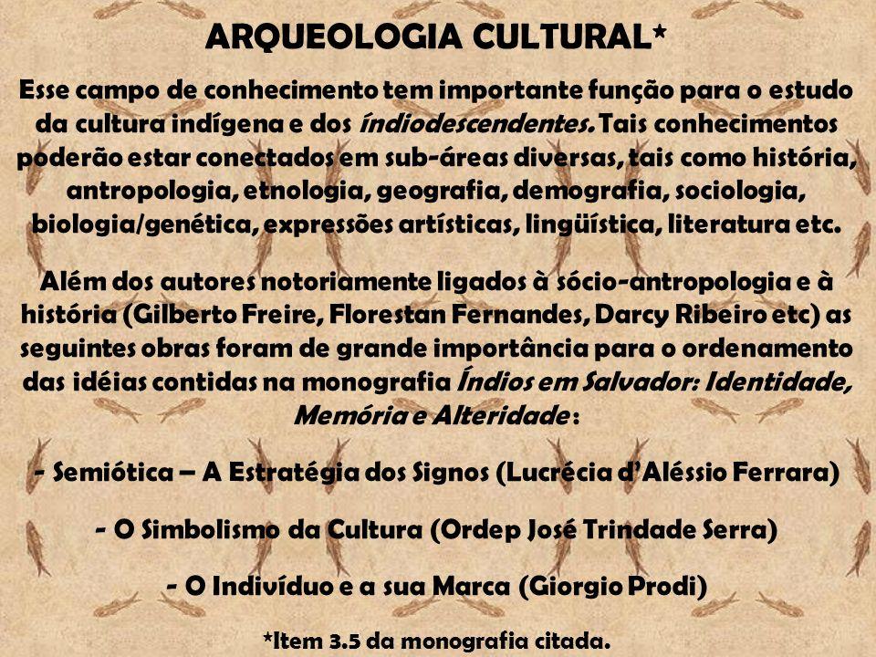 ARQUEOLOGIA CULTURAL* Esse campo de conhecimento tem importante função para o estudo da cultura indígena e dos índiodescendentes. Tais conhecimentos p