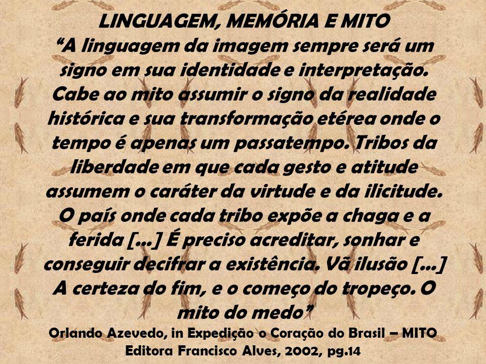 LINGUAGEM, MEMÓRIA E MITO A linguagem da imagem sempre será um signo em sua identidade e interpretação. Cabe ao mito assumir o signo da realidade hist