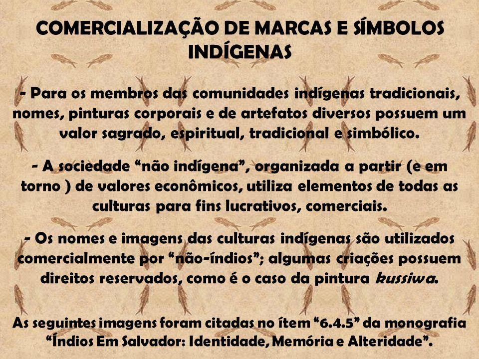 COMERCIALIZAÇÃO DE MARCAS E SÍMBOLOS INDÍGENAS - Para os membros das comunidades indígenas tradicionais, nomes, pinturas corporais e de artefatos dive