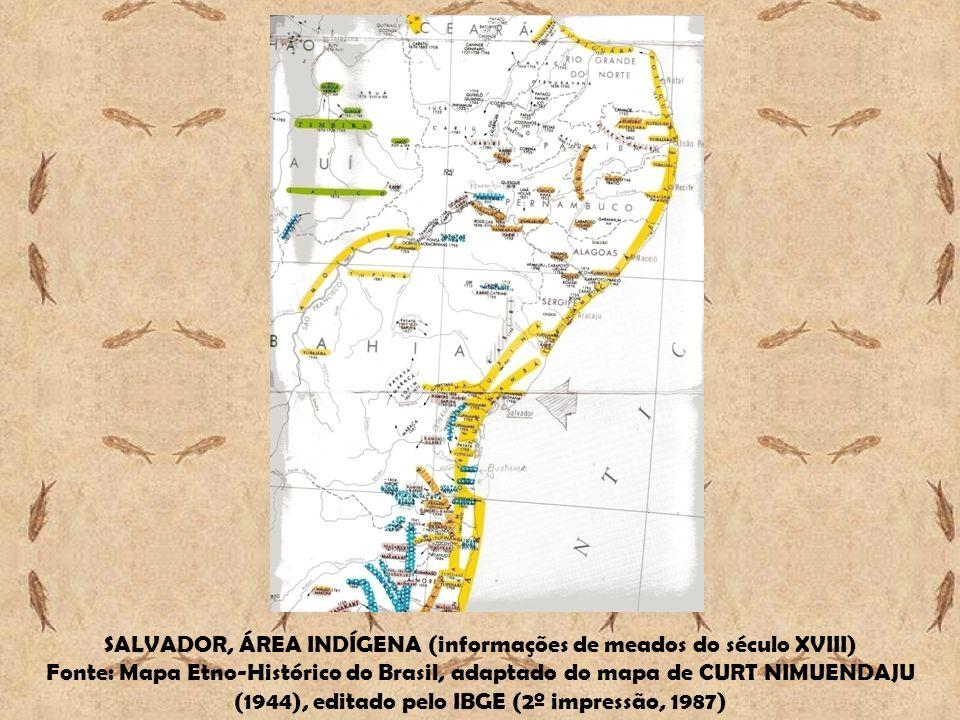 SALVADOR, ÁREA INDÍGENA (informações de meados do século XVIII) Fonte: Mapa Etno-Histórico do Brasil, adaptado do mapa de CURT NIMUENDAJU (1944), edit
