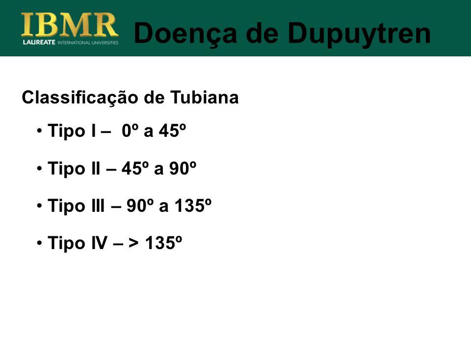 Classificação de Tubiana Doença de Dupuytren Tipo I – 0º a 45º Tipo II – 45º a 90º Tipo III – 90º a 135º Tipo IV – > 135º