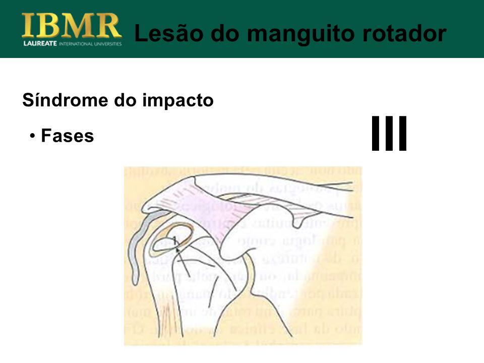 Síndrome do impacto Lesão do manguito rotador Fases III