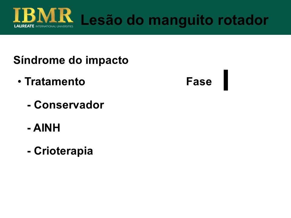 Síndrome do impacto Lesão do manguito rotador Tratamento Fase - Conservador - AINH - Crioterapia I