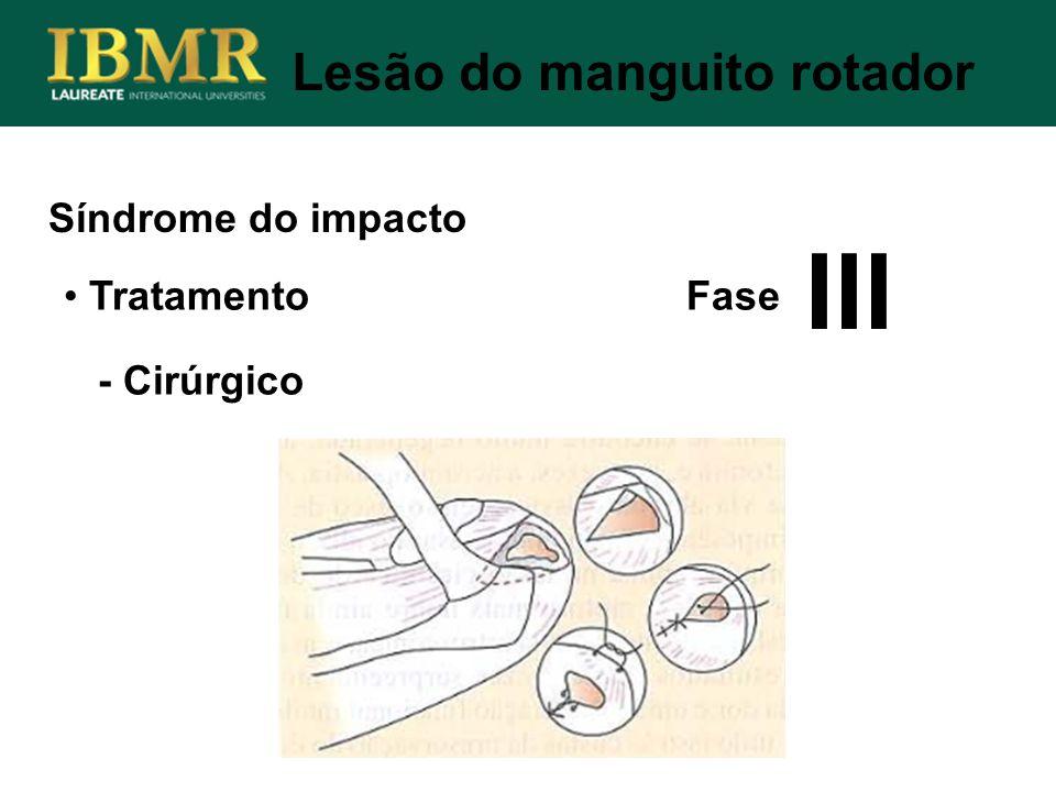 Síndrome do impacto Lesão do manguito rotador Tratamento Fase - Cirúrgico III