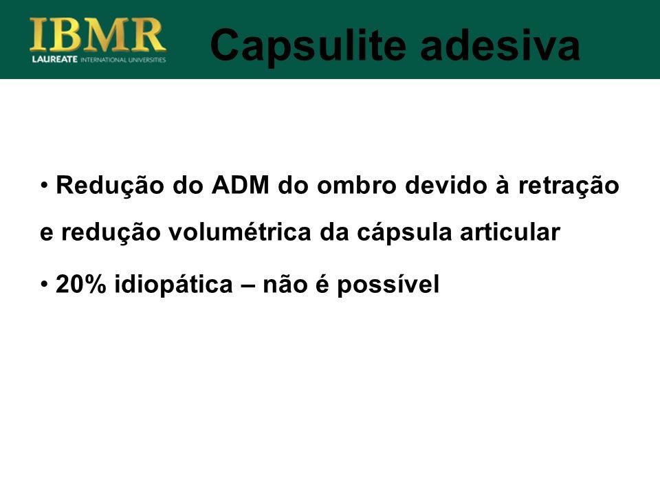 Capsulite adesiva Redução do ADM do ombro devido à retração e redução volumétrica da cápsula articular 20% idiopática – não é possível