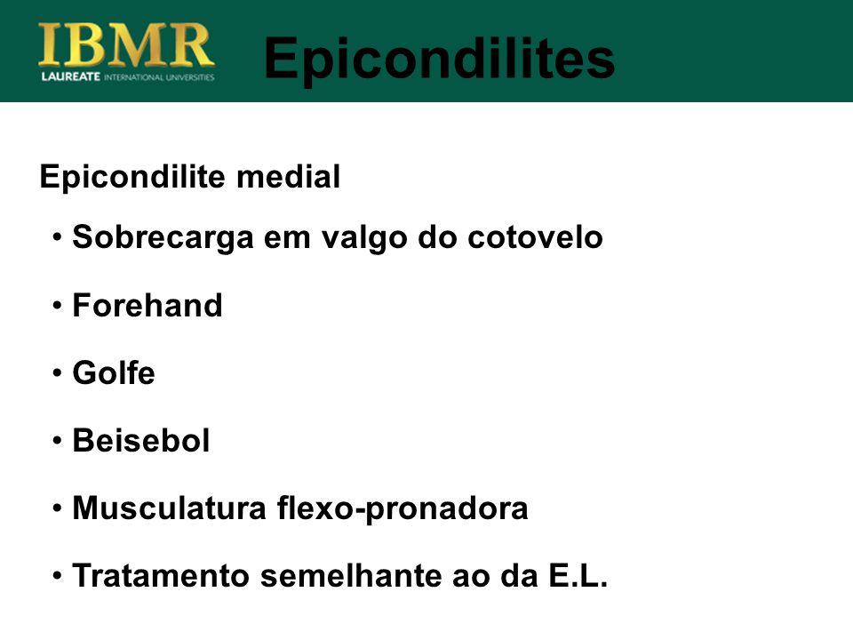 Epicondilite medial Epicondilites Sobrecarga em valgo do cotovelo Forehand Golfe Beisebol Musculatura flexo-pronadora Tratamento semelhante ao da E.L.