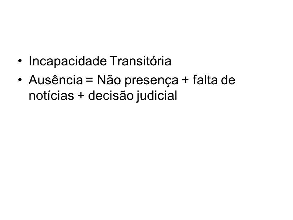 Incapacidade Transitória Ausência = Não presença + falta de notícias + decisão judicial