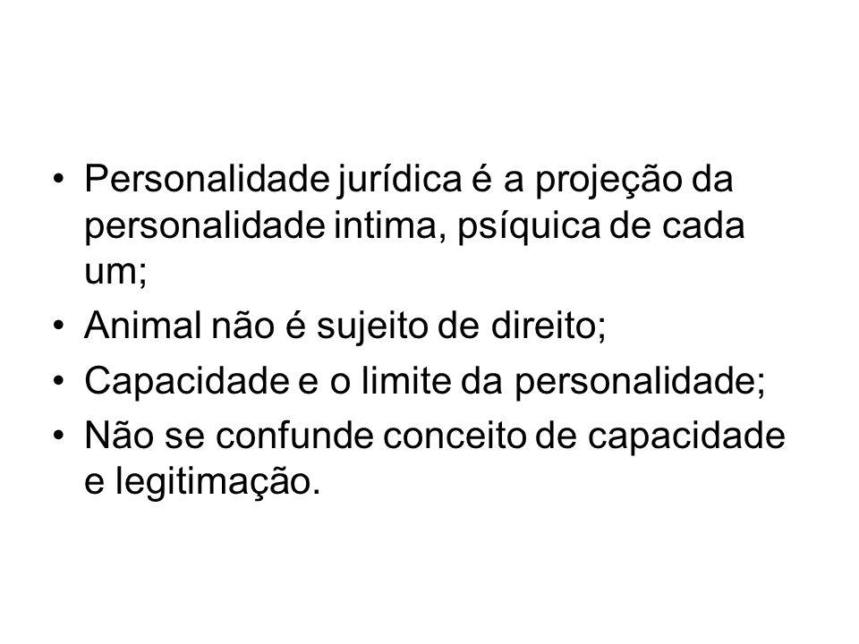 Personalidade jurídica é a projeção da personalidade intima, psíquica de cada um; Animal não é sujeito de direito; Capacidade e o limite da personalid