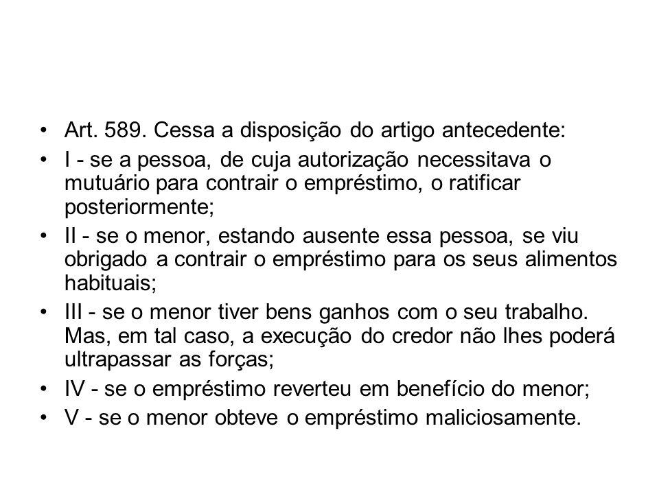 Art. 589. Cessa a disposição do artigo antecedente: I - se a pessoa, de cuja autorização necessitava o mutuário para contrair o empréstimo, o ratifica